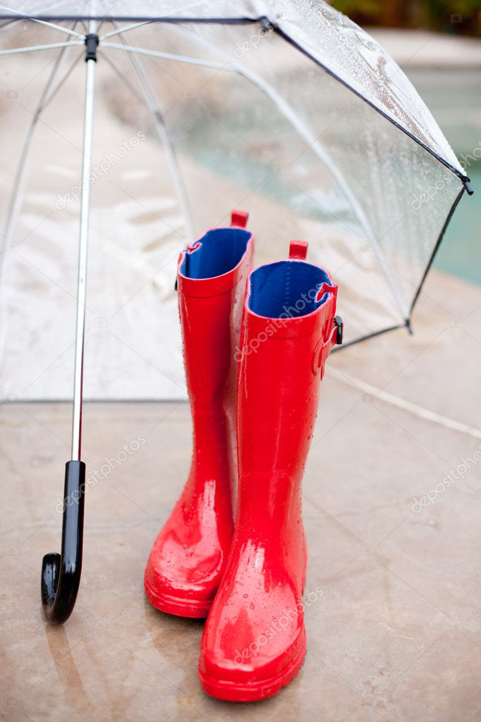 Umbella and Rainboots on a Rainy day  Stock Photo #8969577