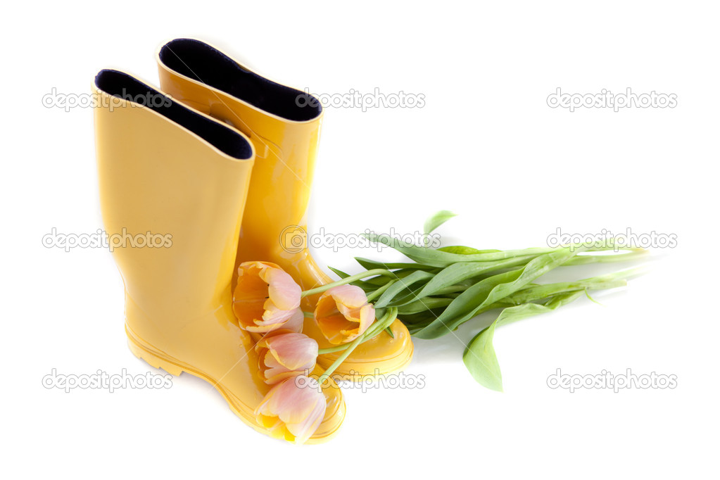 Yellow rubber rainboots with fresh picked Tulips — Stock Photo #8973433