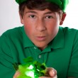 St Patricks Day Cute Teenager with Green hat — Stock Photo