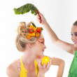 Think Green! Beautiful Women decorated with Fresh Fruit and Vege — Stock Photo