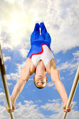 Gymnast in nature — Stock Photo