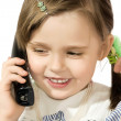 Little girl with phone — Stock Photo