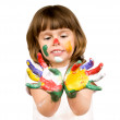 Little beautiful girl and paint — Stock Photo #8217721