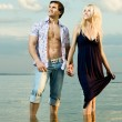 Couple on river — Stock Photo