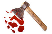Instrument of crime axe in puddle blood — Stock Photo