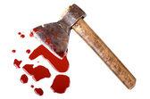 Instrument der kriminalität axt in pfütze blut — Stockfoto