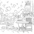 Vector de stock : Cafe in Garden