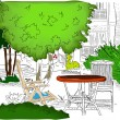 Stock Vector: Cafe in the Garden. Partially colored version2