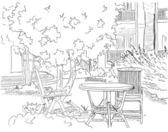 Cafe in the Garden — Stock Vector