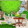 Vetorial Stock : Cafe in Garden. Full colored version.