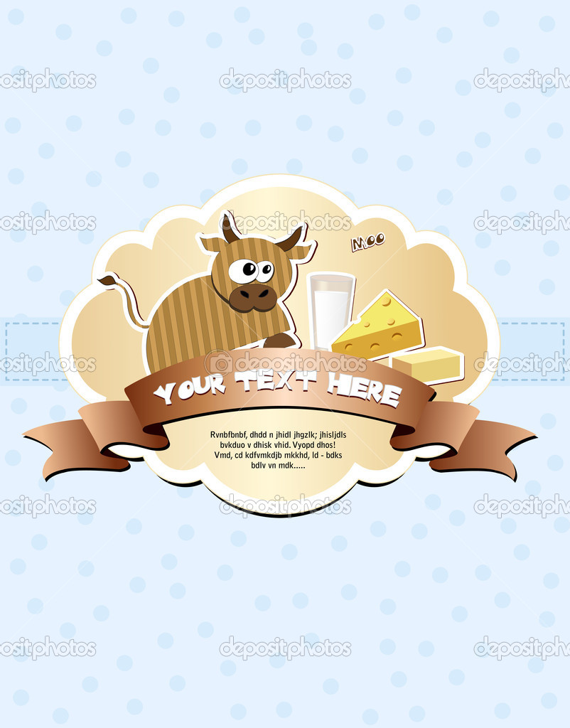 Card with cow, milk, cheese and butter. Vector illustration EPS8 — Stock Vector #10133337