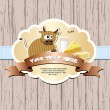 Card with cow, milk, cheese and butter. — Vector de stock