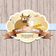 Card with cow, milk, cheese and butter. — Stockvector