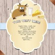 Vector de stock : Wooden card with cow.