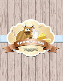 Cow, milk, cheese and butter — Stock Vector