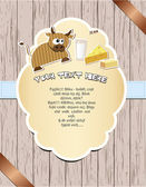 Wooden card with cow. — Vector de stock