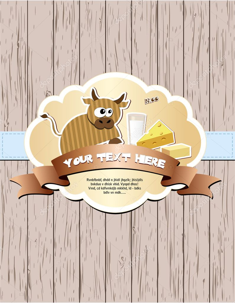 Wooden card with cow, milk, cheese and butter. Vector illustration EPS8 — Stock Vector #10140515