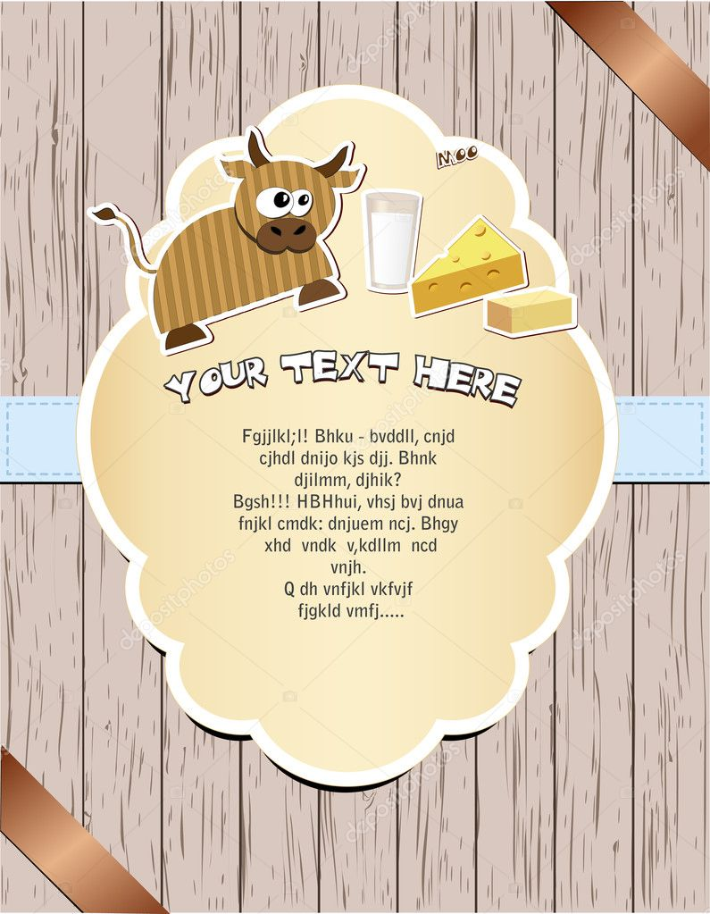 Wooden card with cow, milk, cheese and butter. Vector illustration EPS8 — Stock Vector #10140529