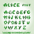 图库矢量图片: Hand drawn green font in vector format