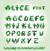Hand drawn green font in vector format — ストックベクタ