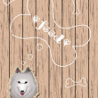 Wooden card with dog dreaming about food - Imagen vectorial