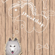 Wooden card with dog dreaming about friends — Stock vektor