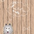 Wooden card with dog dreaming about walks - Imagen vectorial