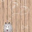 Wooden card with devoted dog - Imagen vectorial
