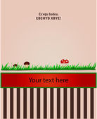 Card with grass and fungi 2 — Vector de stock