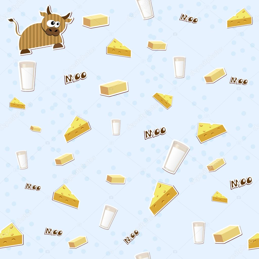 Seamless texture with milk, cheese, cow and butter. Vector illustration EPS8 — Stockvectorbeeld #10652434