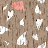 Wooden texture with hearts — Stock Vector