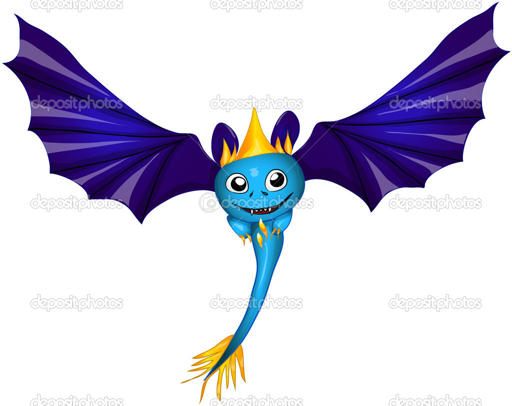 Blue dragon bat  Stock Vector #8083620