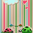 Ladybugs in love — Stock Vector