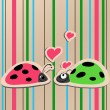 Stock Vector: Ladybugs in love