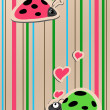 Stock Vector: Ladybirds in love
