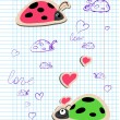 Ladybugs in love — Stockvectorbeeld