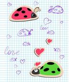 Ladybugs in love — Stock Vector