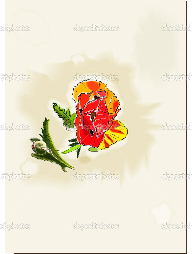 Vintage watercolor card with poppy. vector illustration eps10  Stock Vector #9069511