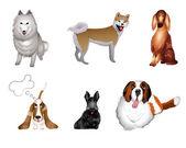 Instellen van rassen van de hond — Stockvector