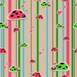 Seamless wallpaper with ladybirds — Stockvectorbeeld