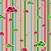 Seamless wallpaper with ladybirds — Stock Vector