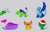 Vector set of cartoon dragons — Stock Vector
