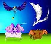 Ensemble de vecteur de dessin animé dragons et monstres — Vecteur