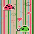 Vector seamless wallpaper with ladybirds — Stockvectorbeeld