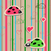 Vector seamless wallpaper with ladybirds — Stock Vector