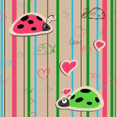 Vector seamless wallpaper with ladybirds — Stock Vector