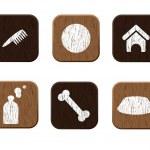 Pet shop wooden icons set vector — Stock Vector