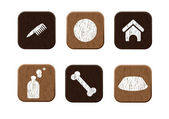 Pet shop wooden icons set vector — Stock Vector
