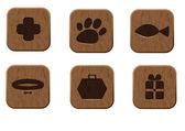 Set di icone in legno negozio di animali — Vettoriale Stock