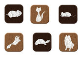 Pet shop wooden icons set with pets silhouettes. — Vector de stock